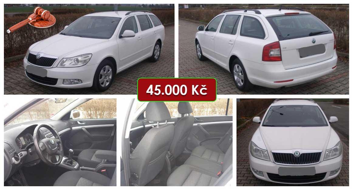 Aukce Škoda Octavia Combi 1.6 TDI. Vyvolávací cena 45.000 Kč